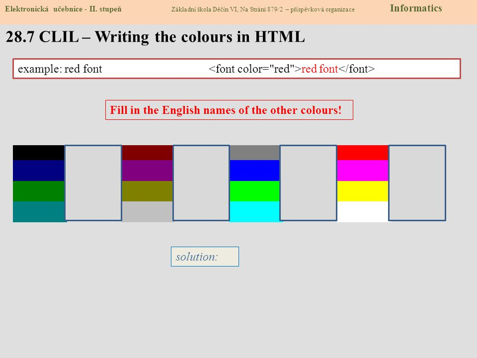 28.7 CLIL – Writing the colours in HTML