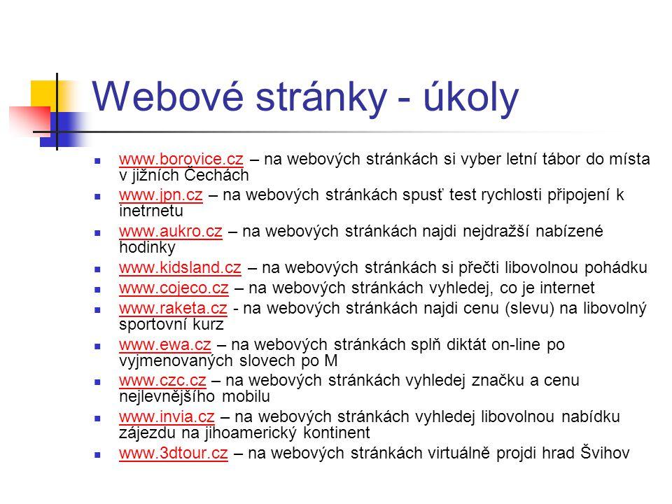 Webové stránky - úkoly www.borovice.cz – na webových stránkách si vyber letní tábor do místa v jižních Čechách.