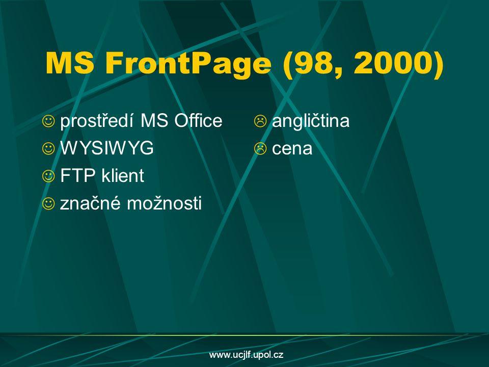 MS FrontPage (98, 2000) prostředí MS Office WYSIWYG FTP klient