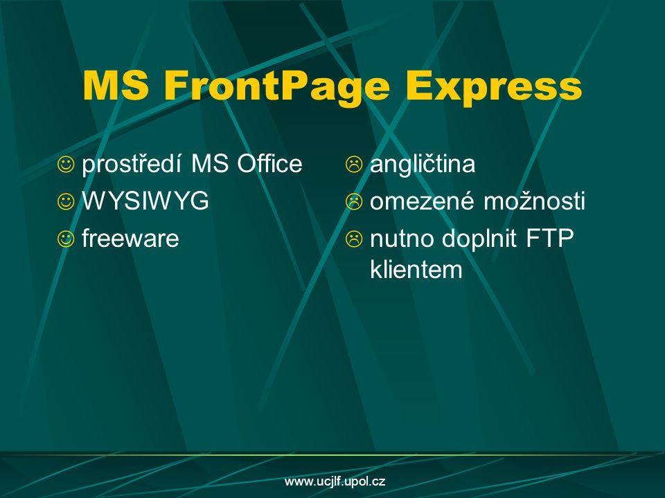 MS FrontPage Express prostředí MS Office WYSIWYG freeware angličtina