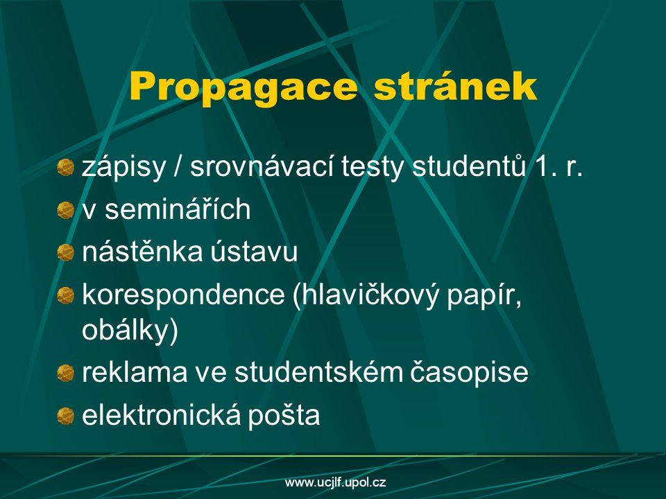 Propagace stránek zápisy / srovnávací testy studentů 1. r.