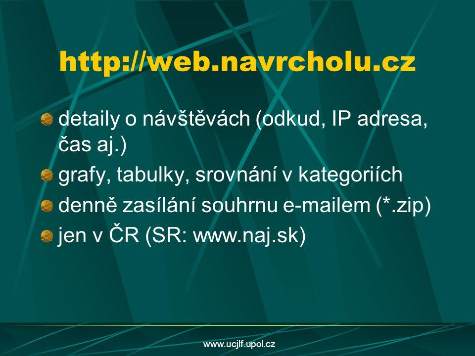 http://web.navrcholu.cz detaily o návštěvách (odkud, IP adresa, čas aj.) grafy, tabulky, srovnání v kategoriích.