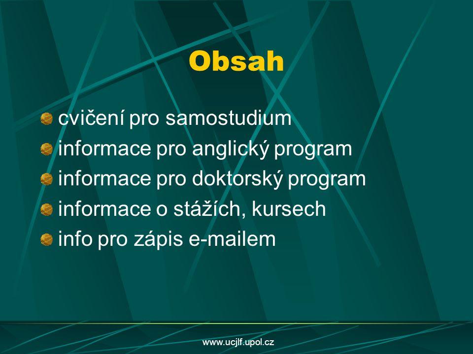 Obsah cvičení pro samostudium informace pro anglický program