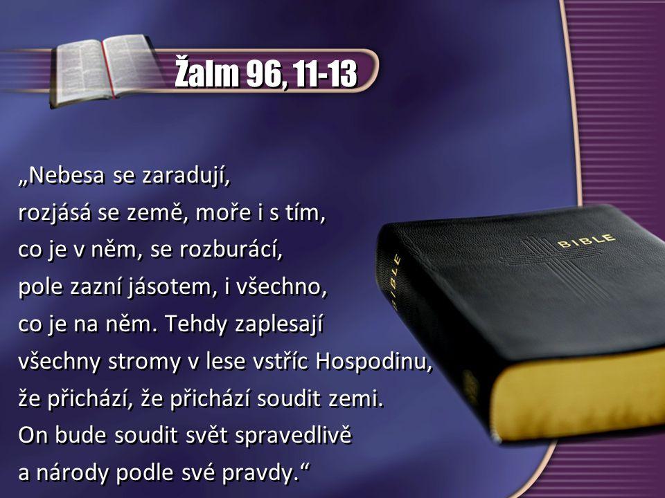"""Žalm 96, 11-13 """"Nebesa se zaradují, rozjásá se země, moře i s tím,"""