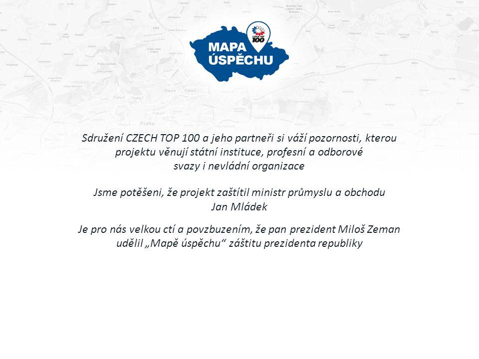 Sdružení CZECH TOP 100 a jeho partneři si váží pozornosti, kterou projektu věnují státní instituce, profesní a odborové svazy i nevládní organizace