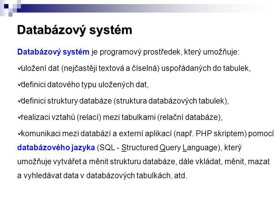 Databázový systém Databázový systém je programový prostředek, který umožňuje: uložení dat (nejčastěji textová a číselná) uspořádaných do tabulek,