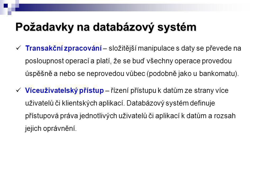 Požadavky na databázový systém