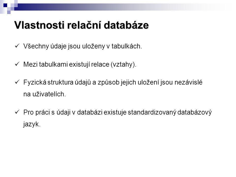 Vlastnosti relační databáze