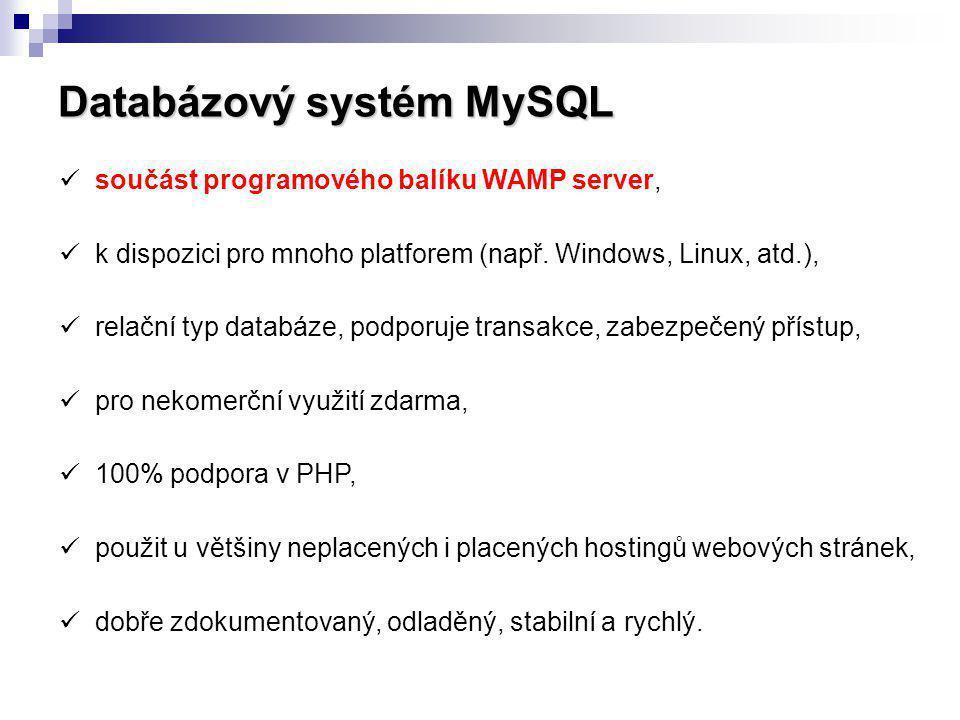 Databázový systém MySQL