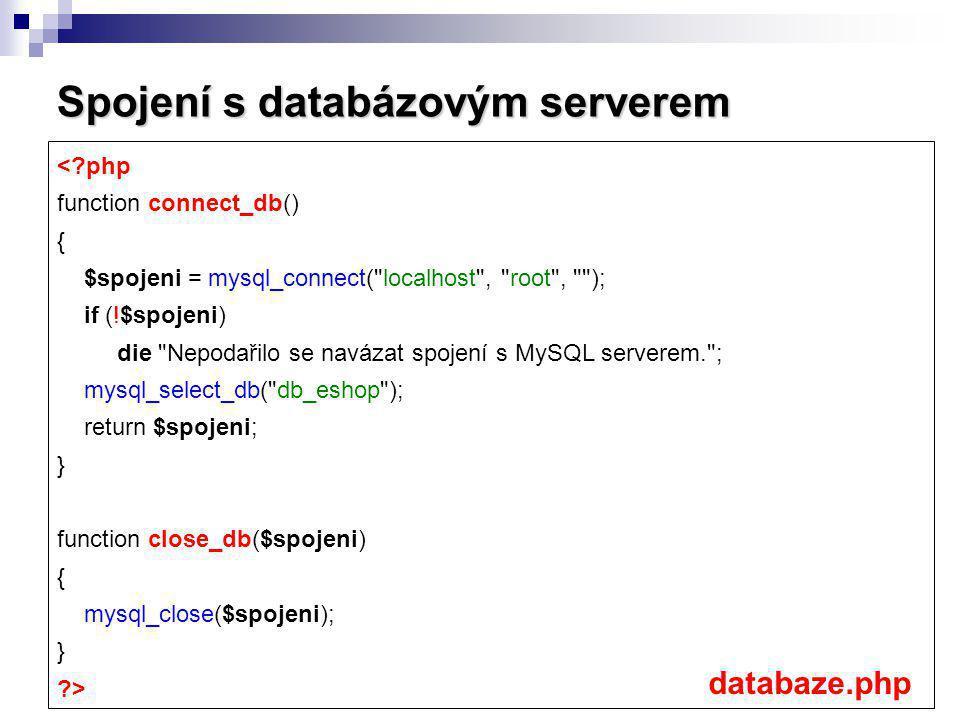 Spojení s databázovým serverem