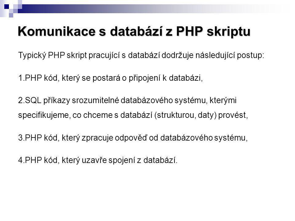 Komunikace s databází z PHP skriptu