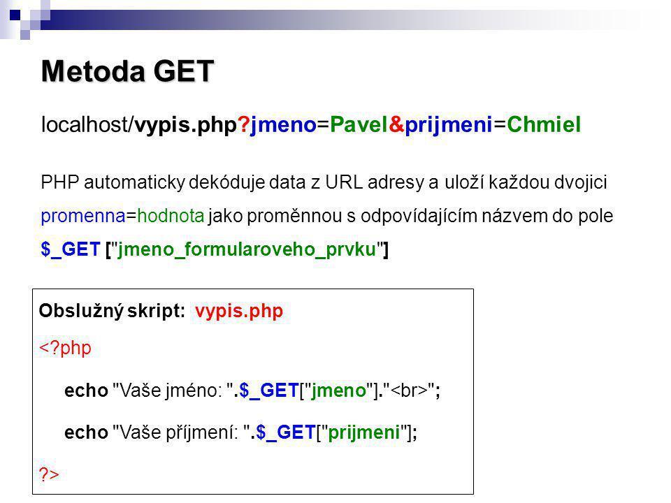 Metoda GET localhost/vypis.php jmeno=Pavel&prijmeni=Chmiel