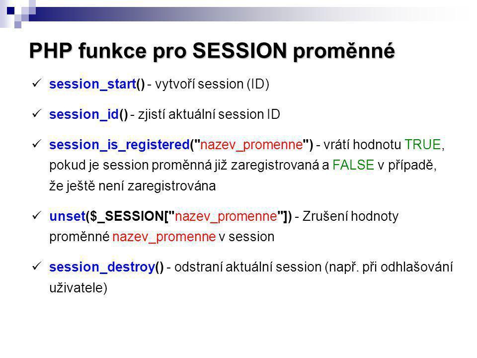 PHP funkce pro SESSION proměnné