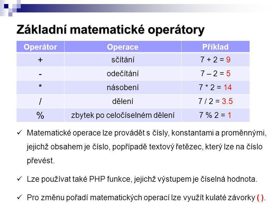 Základní matematické operátory