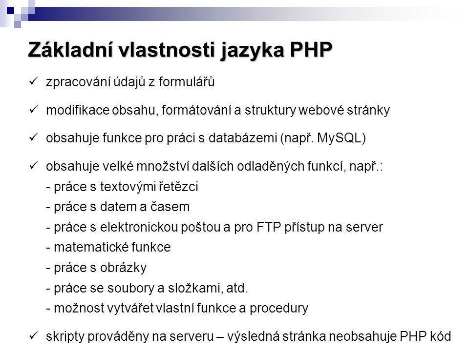 Základní vlastnosti jazyka PHP