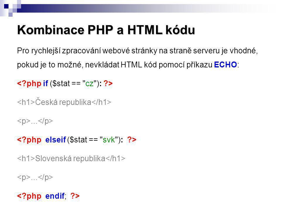 Kombinace PHP a HTML kódu