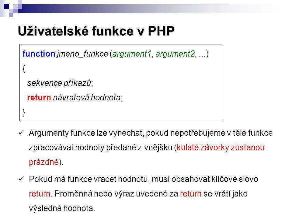 Uživatelské funkce v PHP