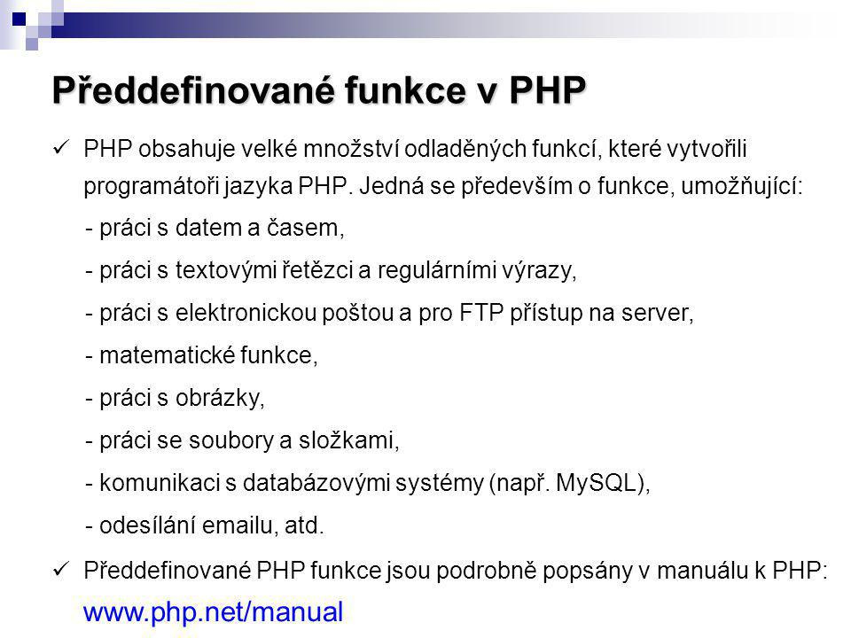 Předdefinované funkce v PHP