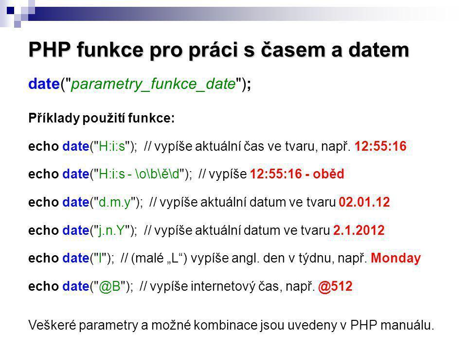 PHP funkce pro práci s časem a datem