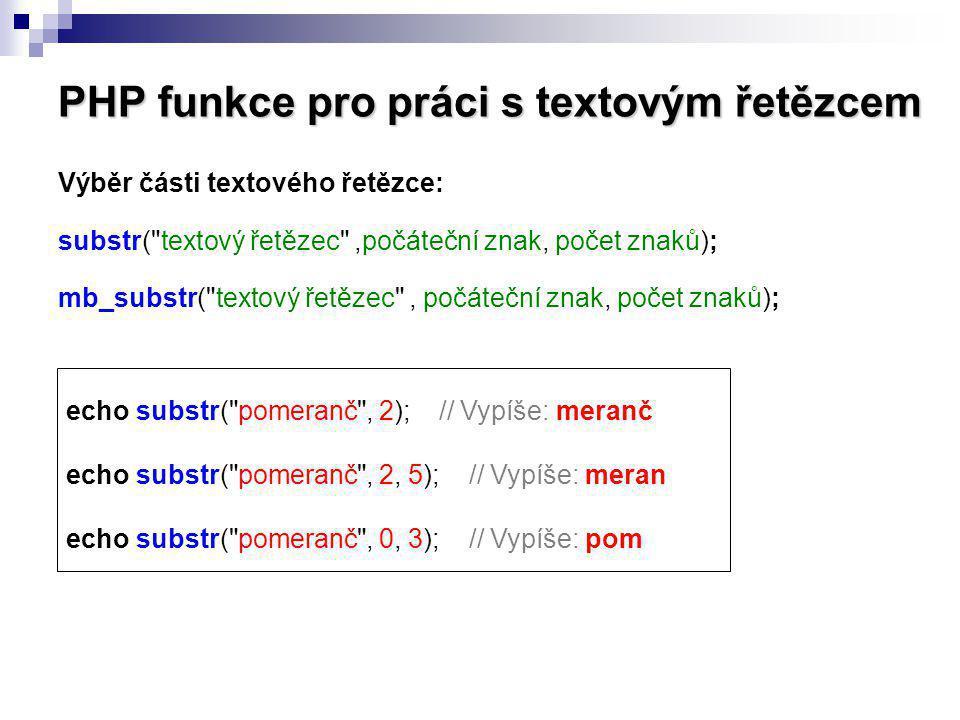 PHP funkce pro práci s textovým řetězcem