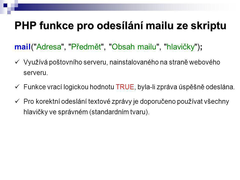 PHP funkce pro odesílání mailu ze skriptu