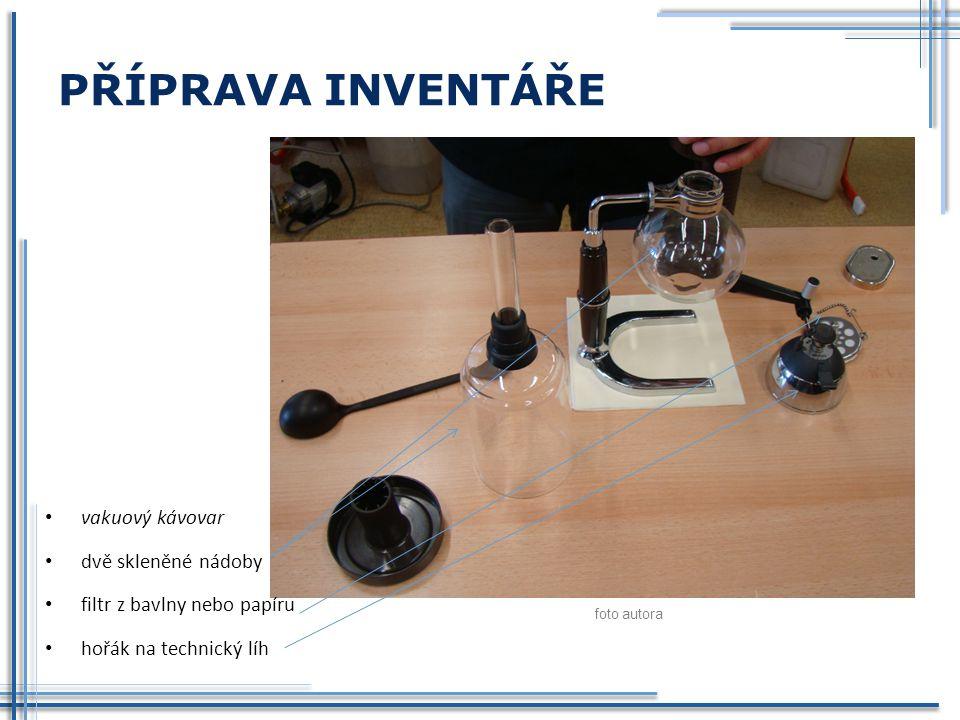 PŘÍPRAVA INVENTÁŘE vakuový kávovar dvě skleněné nádoby