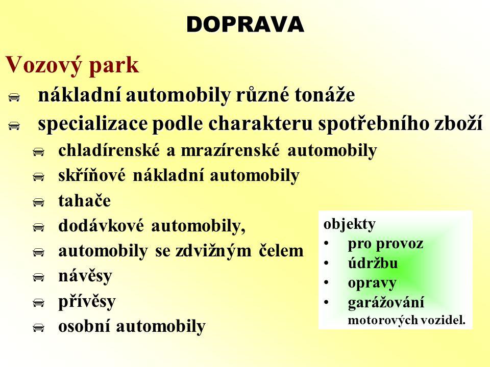 Vozový park DOPRAVA nákladní automobily různé tonáže