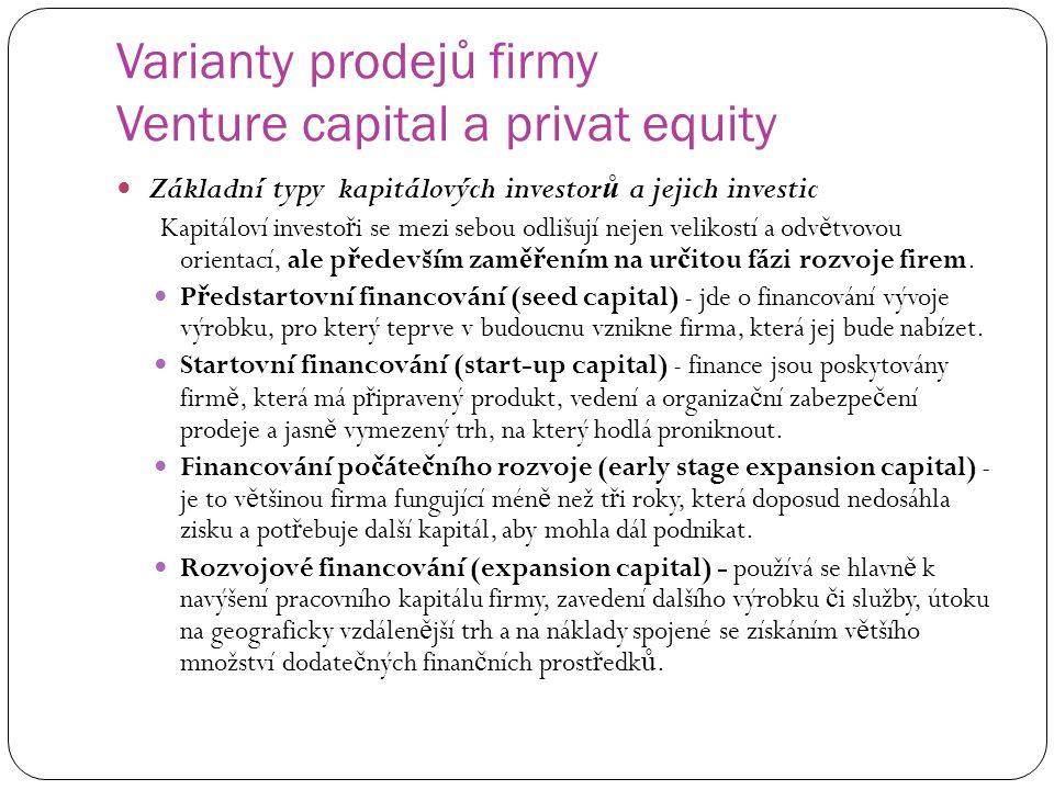 Varianty prodejů firmy Venture capital a privat equity