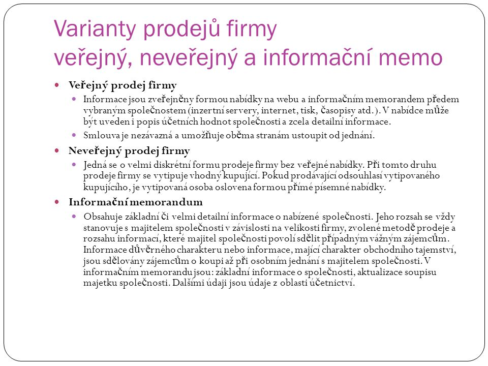 Varianty prodejů firmy veřejný, neveřejný a informační memo