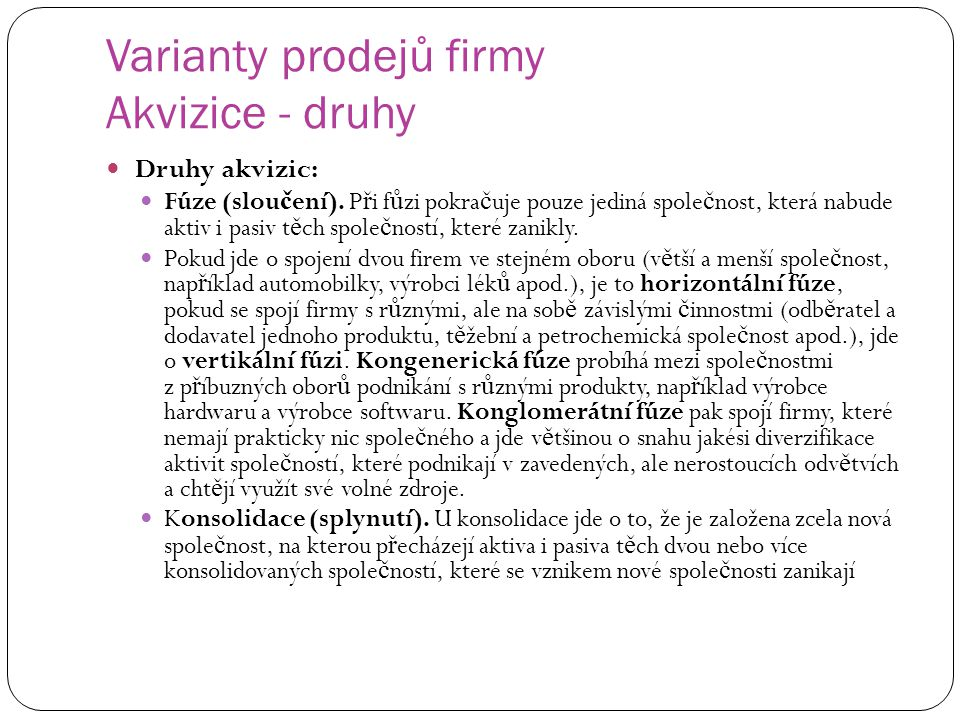 Varianty prodejů firmy Akvizice - druhy
