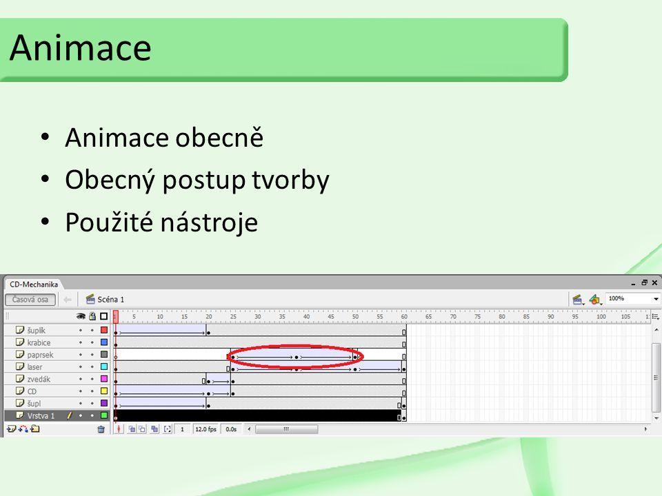 Animace Animace obecně Obecný postup tvorby Použité nástroje