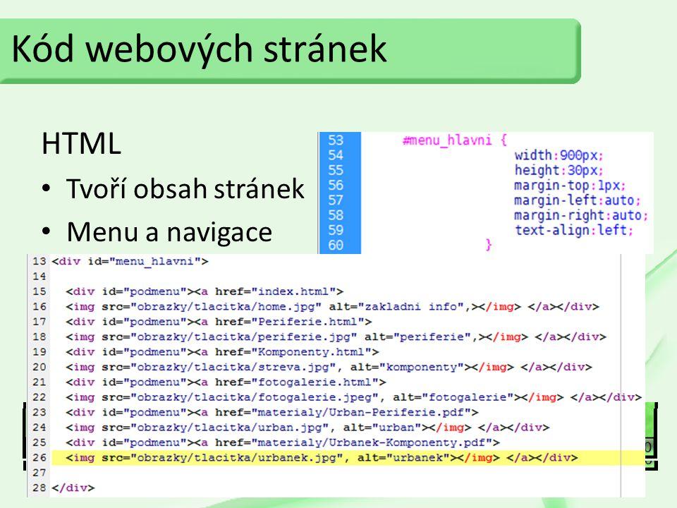 Kód webových stránek HTML CSS Tvoří obsah stránek Menu a navigace