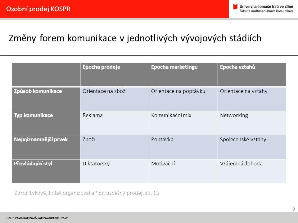Změny forem komunikace v jednotlivých vývojových stádiích