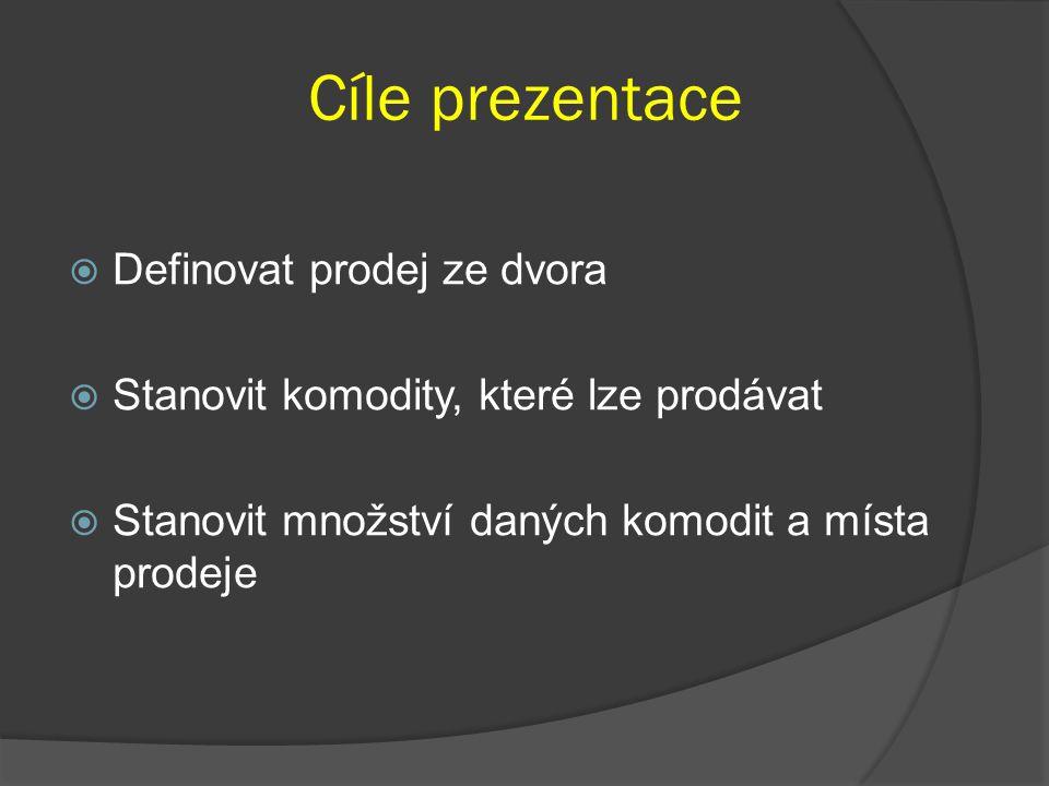 Cíle prezentace Definovat prodej ze dvora