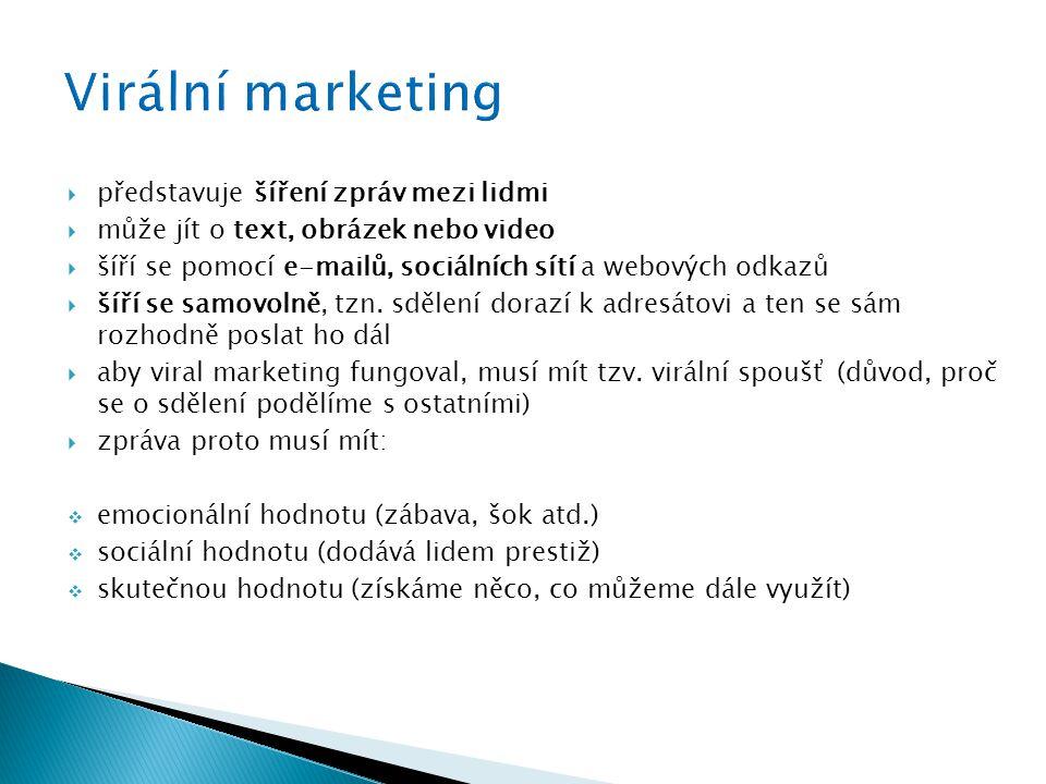 Virální marketing představuje šíření zpráv mezi lidmi