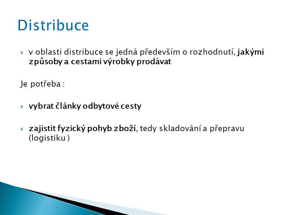Distribuce v oblasti distribuce se jedná především o rozhodnutí, jakými způsoby a cestami výrobky prodávat.