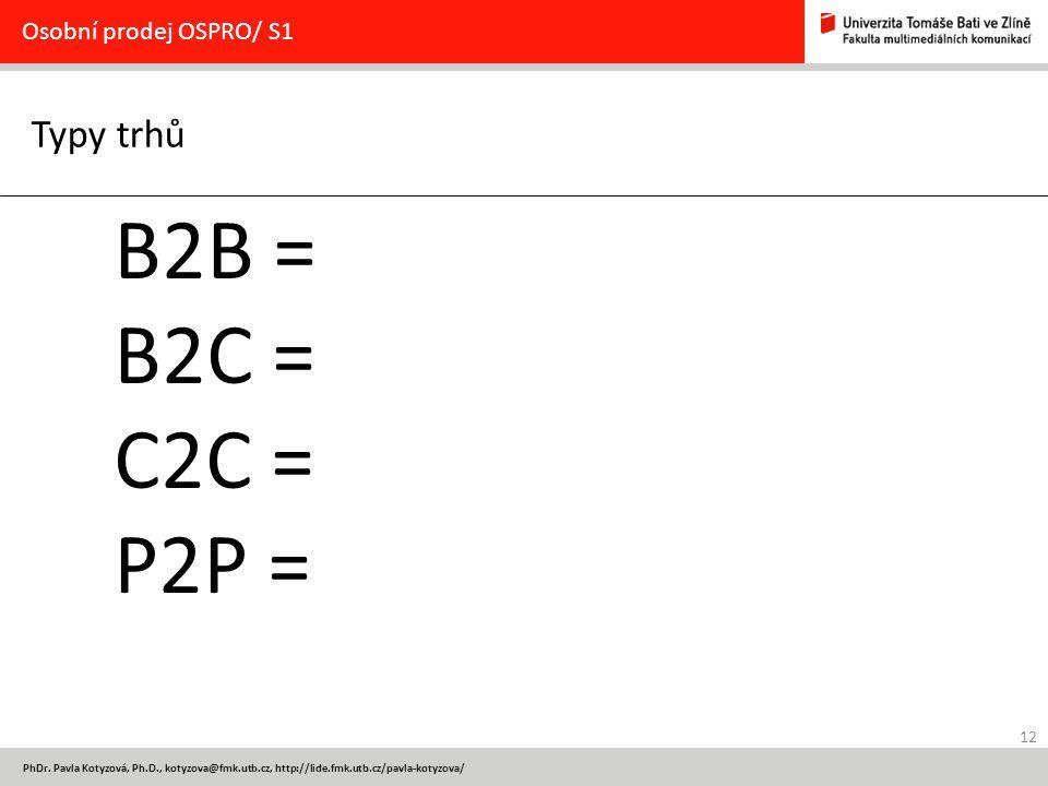 B2B = B2C = C2C = P2P = Typy trhů Osobní prodej OSPRO/ S1