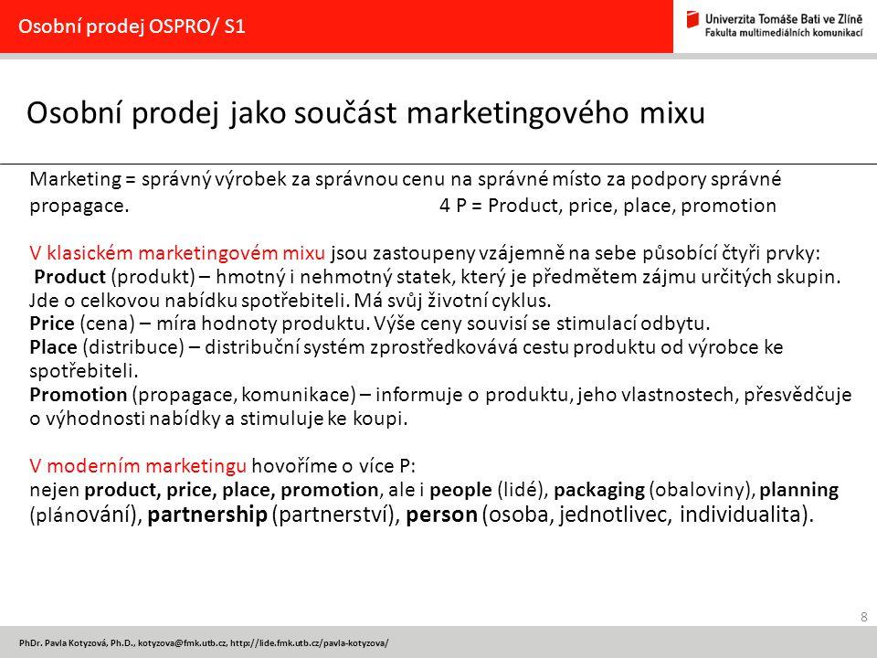 Osobní prodej jako součást marketingového mixu