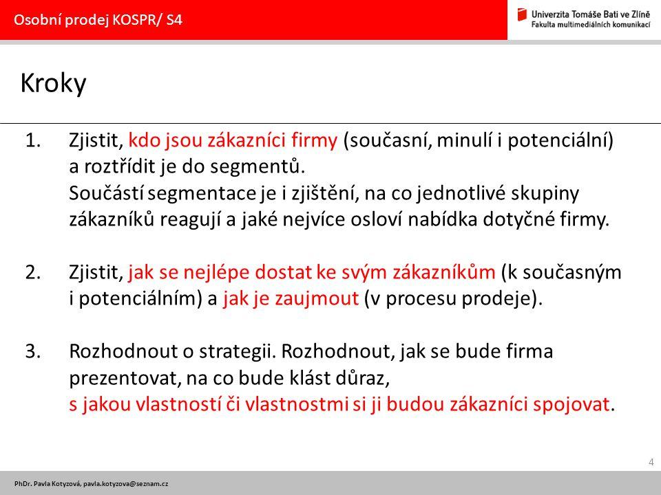 Osobní prodej KOSPR/ S4 Kroky.