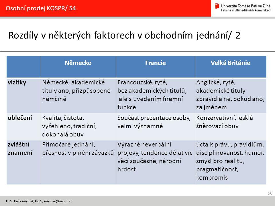 Rozdíly v některých faktorech v obchodním jednání/ 2
