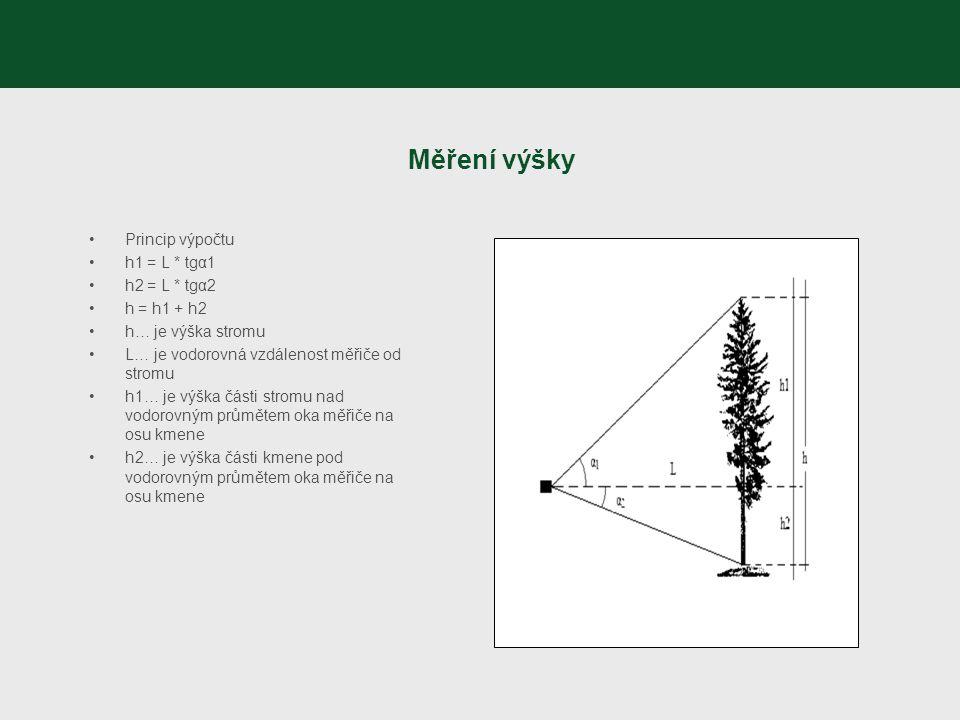 Měření výšky Princip výpočtu h1 = L * tgα1 h2 = L * tgα2 h = h1 + h2
