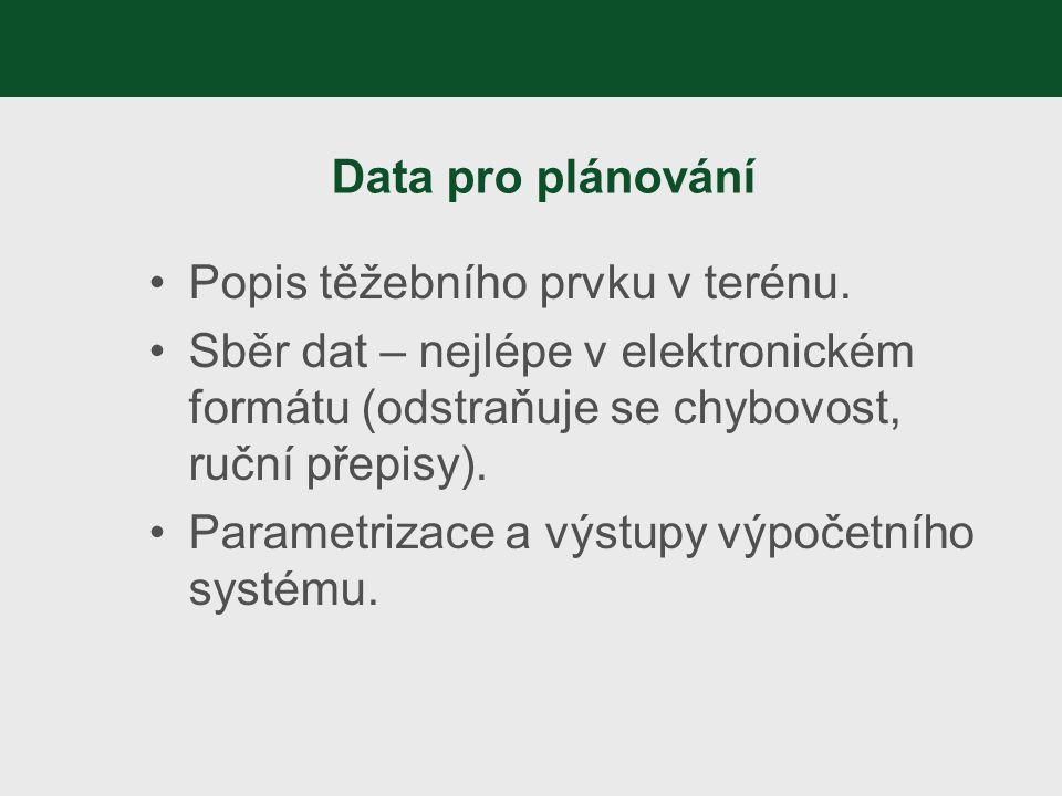 Data pro plánování Popis těžebního prvku v terénu. Sběr dat – nejlépe v elektronickém formátu (odstraňuje se chybovost, ruční přepisy).