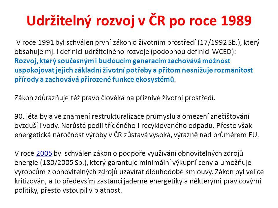 Udržitelný rozvoj v ČR po roce 1989