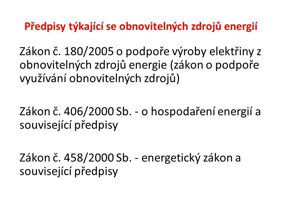 Předpisy týkající se obnovitelných zdrojů energií