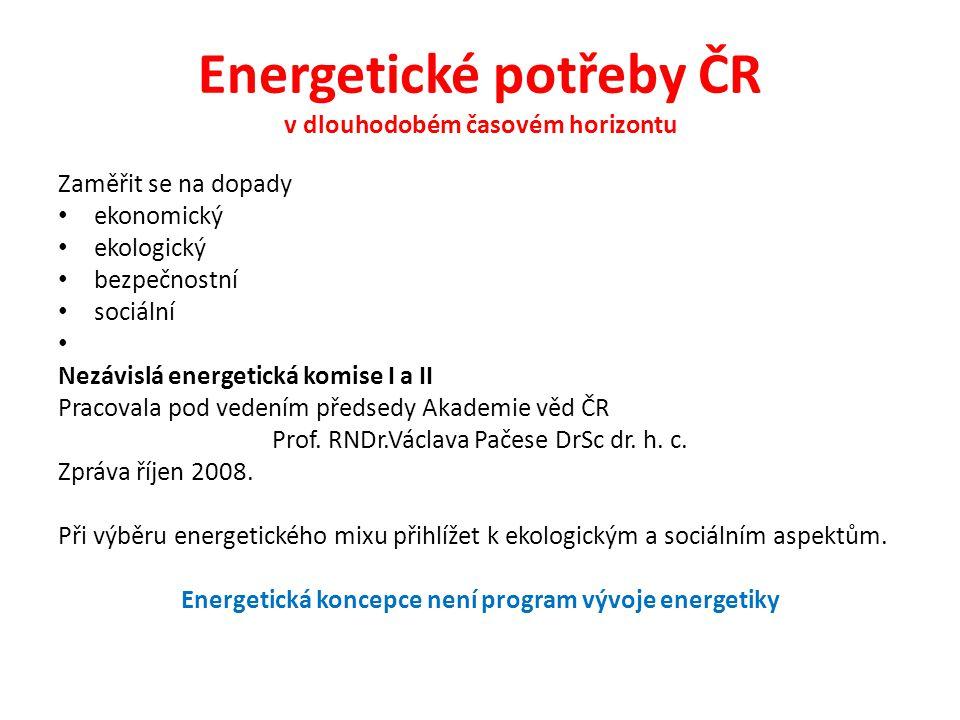 Energetické potřeby ČR v dlouhodobém časovém horizontu