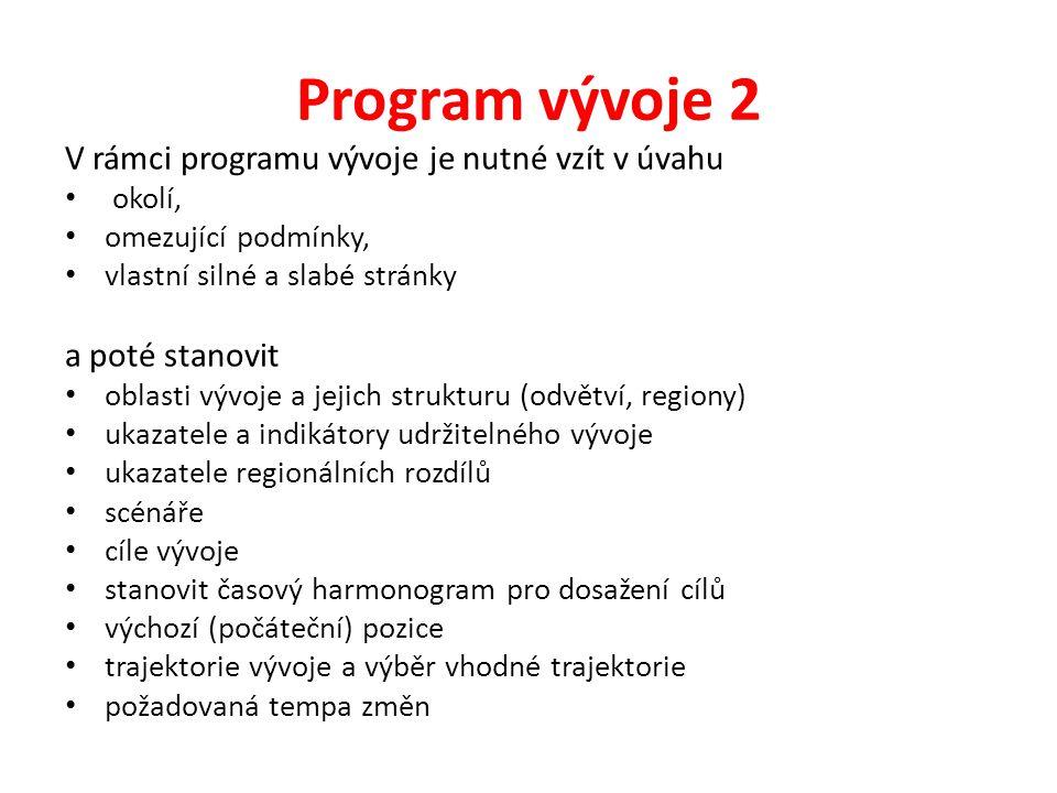 Program vývoje 2 V rámci programu vývoje je nutné vzít v úvahu