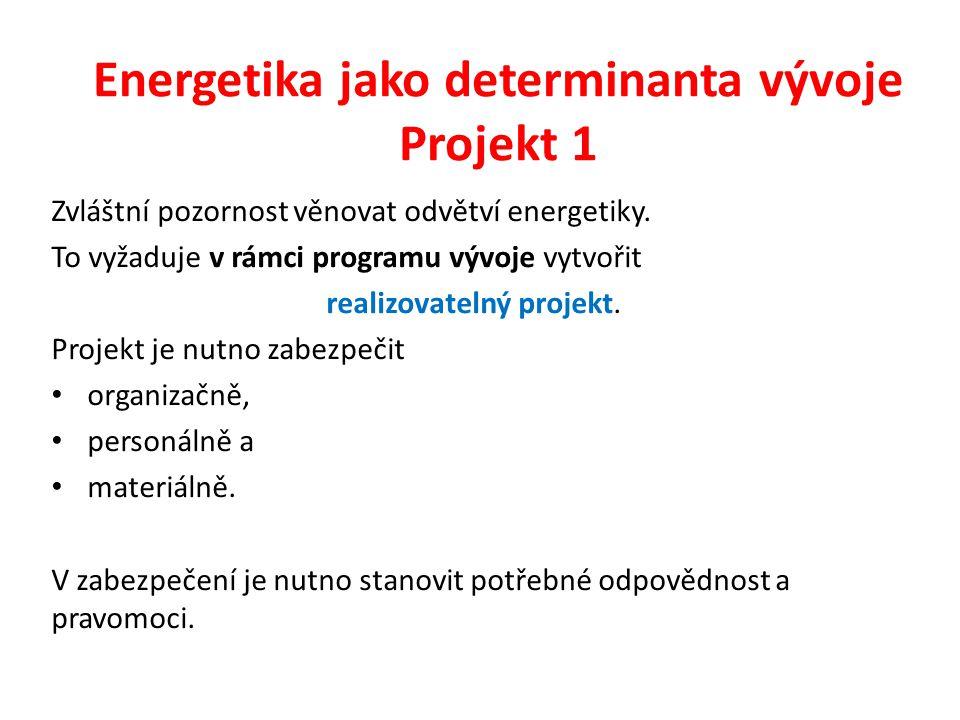 Energetika jako determinanta vývoje Projekt 1