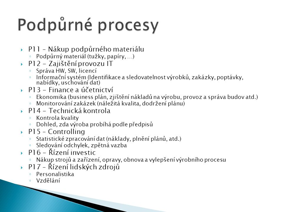 Podpůrné procesy P11 – Nákup podpůrného materiálu