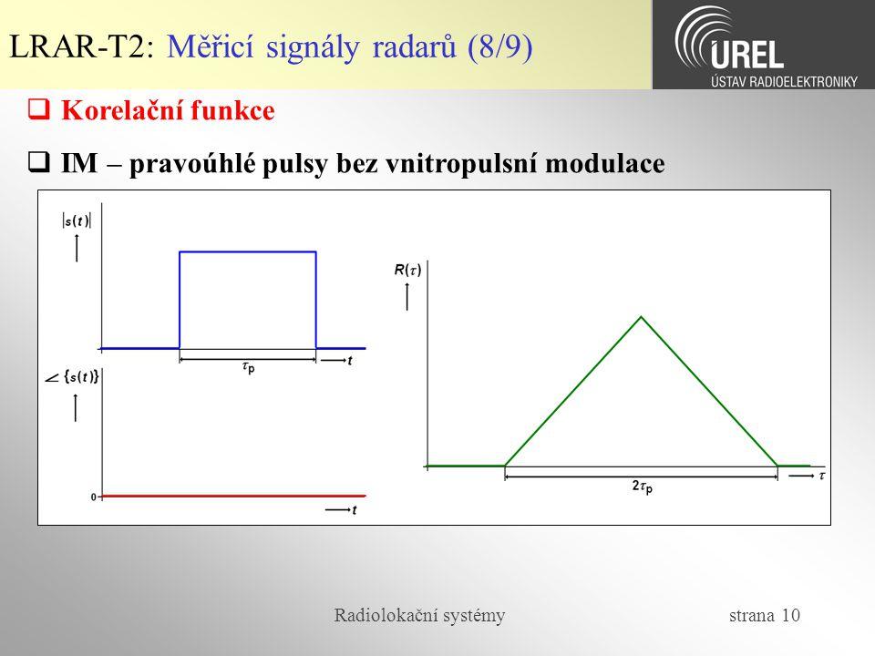 LRAR-T2: Měřicí signály radarů (8/9)