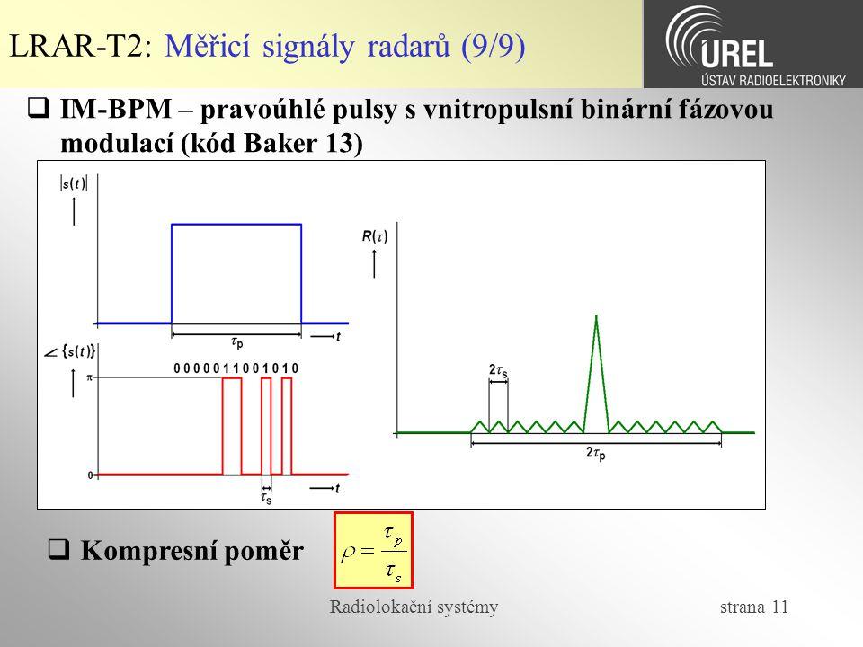 LRAR-T2: Měřicí signály radarů (9/9)